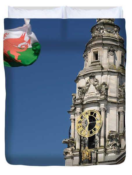 Duvet Cover featuring the photograph Cardiff City Hall by Jeremy Voisey