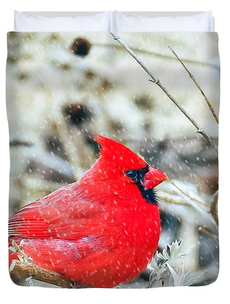 Cardinal Bird Christmas Card Duvet Cover by Peggy Franz