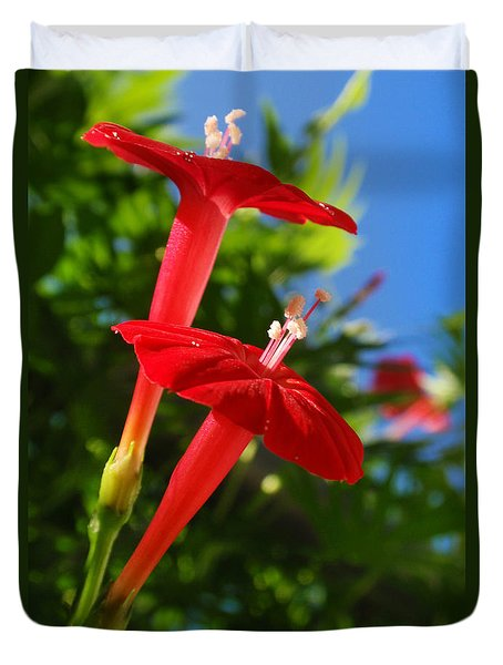 Cardinal Climber Flowers Duvet Cover by Christina Rollo