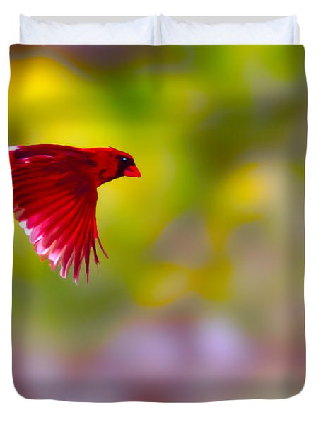 Cardinal In Flight Duvet Cover by Dan Friend