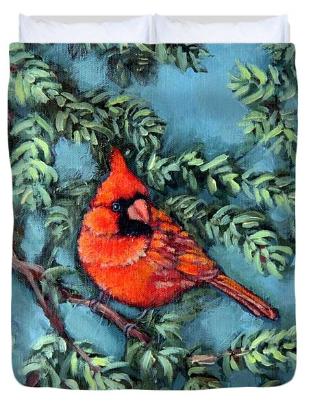 Cardinal In Spruce Duvet Cover