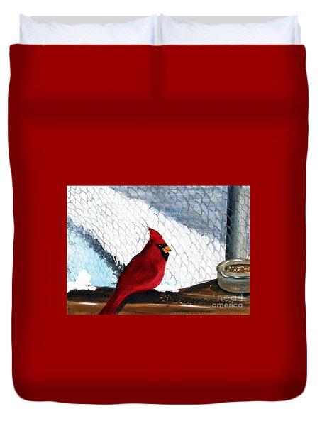 Cardinal In The Dogpound Duvet Cover by Barbara Griffin