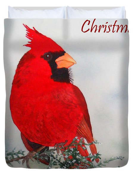 Cardinal Merry Christmas Duvet Cover