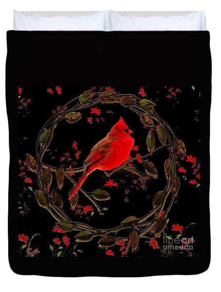 Cardinal On Metal Wreath Duvet Cover by Janette Boyd