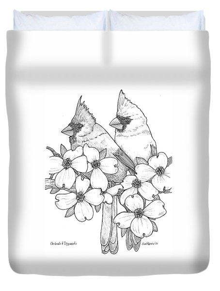 Cardinals And Dogwoods Duvet Cover