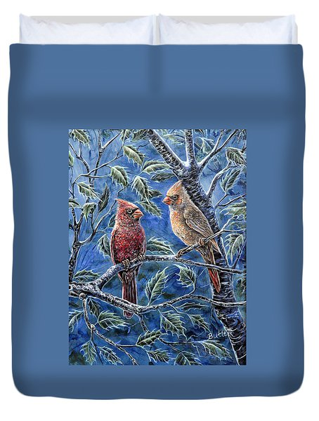Cardinals And Holly Duvet Cover by Gail Butler