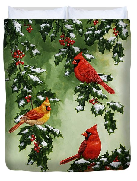 Cardinals And Holly - Version With Snow Duvet Cover by Crista Forest