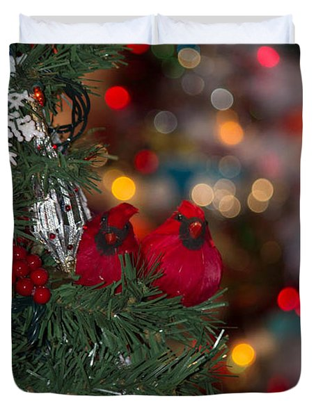Duvet Cover featuring the photograph Cardinals At Christmas by Patricia Babbitt