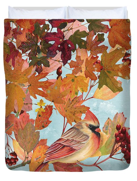 Cardinals In The Fall-female Duvet Cover