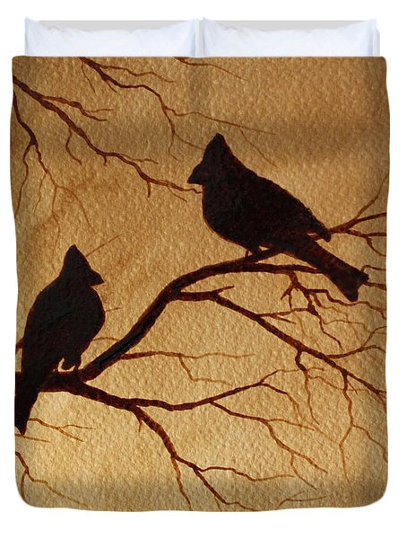 Cardinals Silhouettes Coffee Painting Duvet Cover