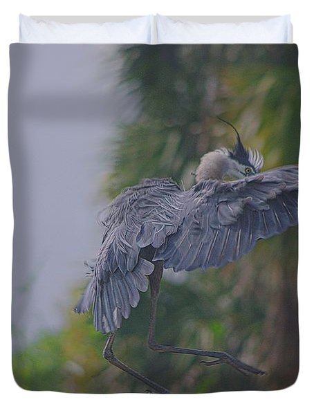 Duvet Cover featuring the photograph Careful Landing by Dennis Baswell