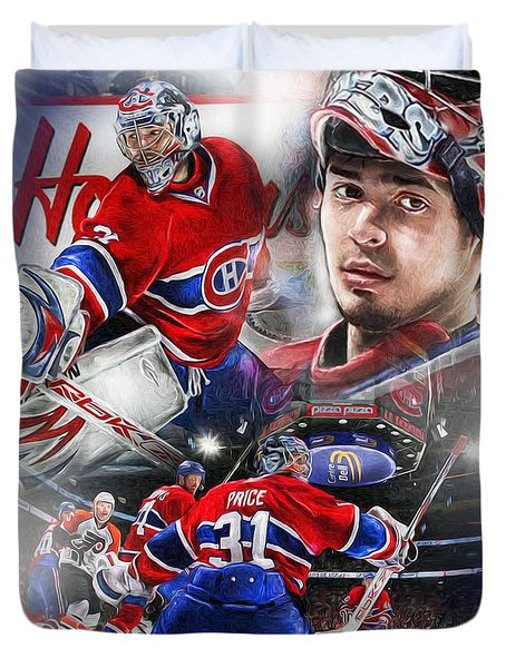 Duvet Cover featuring the painting Carey Price by Mike Oulton 297138d78