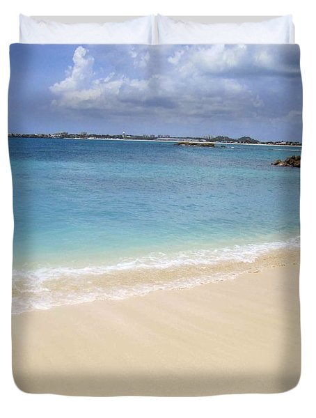 Duvet Cover featuring the photograph Caribbean Beach Front by Fiona Kennard