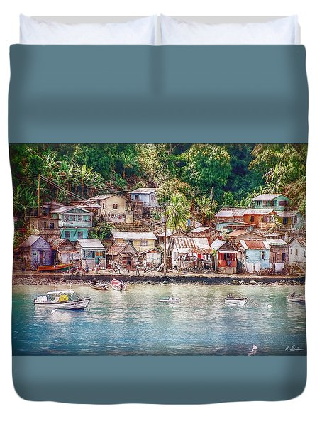 Caribbean Village Duvet Cover by Hanny Heim
