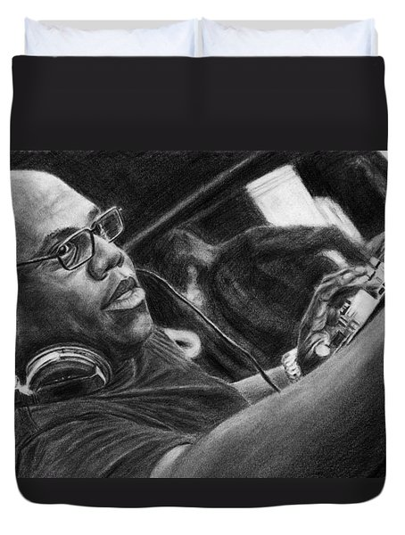 Carl Cox Pencil Drawing Duvet Cover