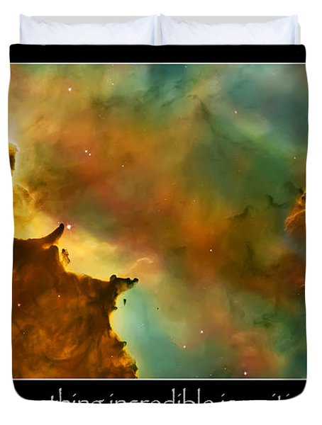Carl Sagan Quote And Carina Nebula 3 Duvet Cover by Jennifer Rondinelli Reilly - Fine Art Photography