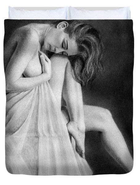 Duvet Cover featuring the drawing Carly by Joseph Ogle