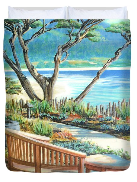 Duvet Cover featuring the painting Carmel Lagoon View by Jane Girardot