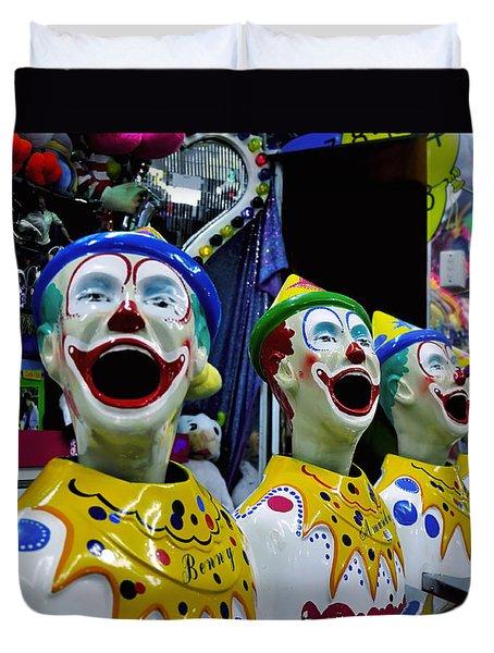 Carnival Clowns Duvet Cover by Kaye Menner