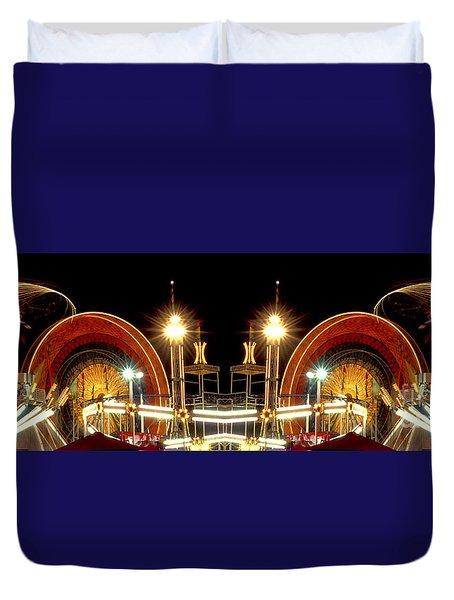 Carnival Light Patterns At Night Duvet Cover