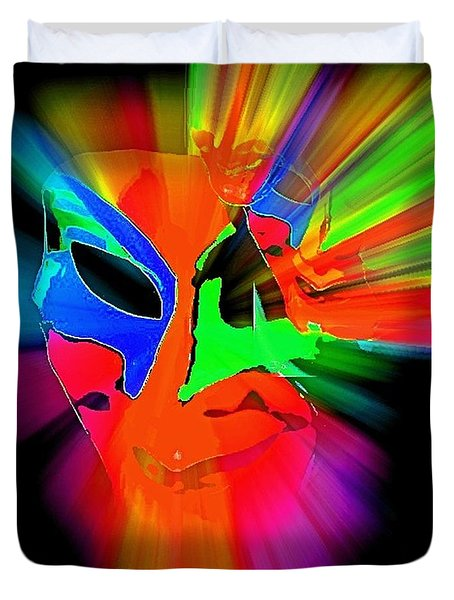 Carnival Mask In Abstract Duvet Cover
