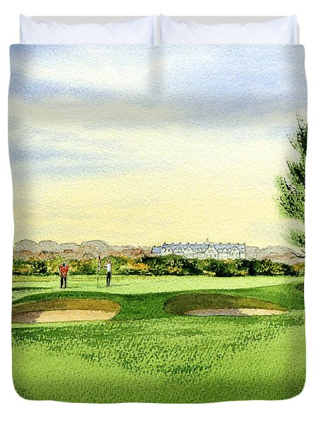 Carnoustie Golf Course 13th Green Duvet Cover by Bill Holkham