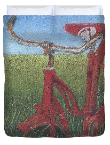 Carole's Bike Duvet Cover by Arlene Crafton