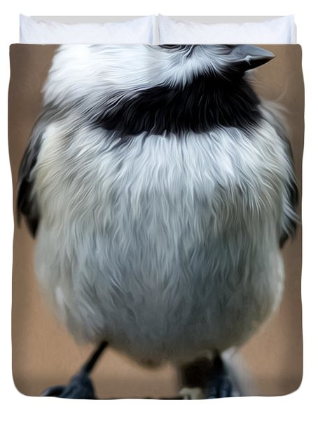 Carolina Chickadee Duvet Cover by John Haldane