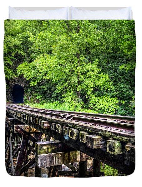 Carolina Railroad Trestle Duvet Cover by Debra and Dave Vanderlaan