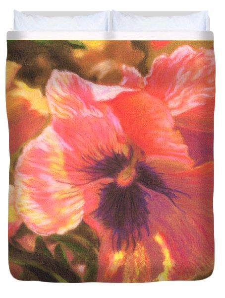 Caroline's Pansies Duvet Cover by Harriett Masterson