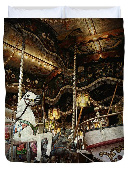 Duvet Cover featuring the photograph Carousel by Barbara Orenya