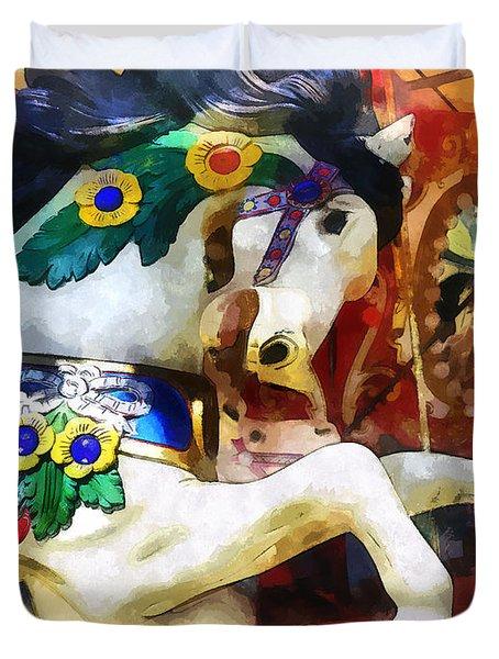 Carousel Horse Closeup Duvet Cover
