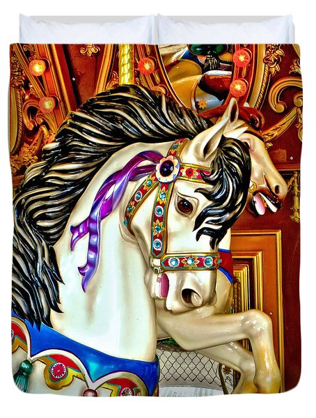Duvet Cover featuring the photograph Carousel Horse by Margaret Newcomb