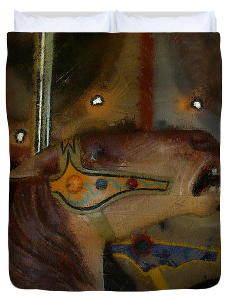 Carousel Horses Painterly Duvet Cover by Ernie Echols