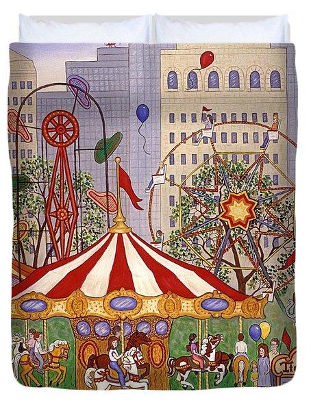 Carousel In City Park Duvet Cover by Linda Mears