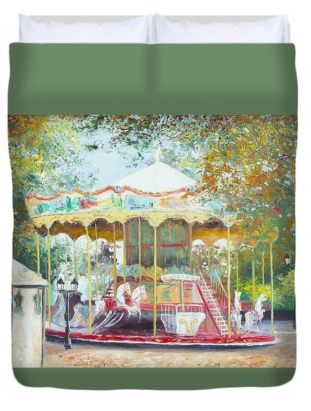 Carousel In Montmartre Paris Duvet Cover