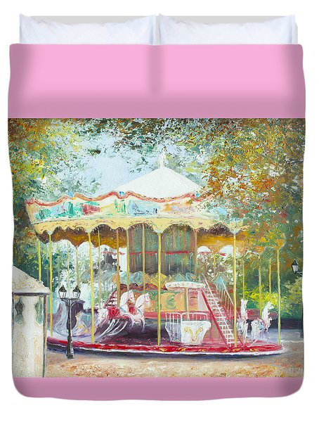 Carousel In Montmartre Paris Duvet Cover