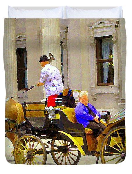 Carriage Ride On Cobblestones Rue Notre Dame Tan Horse Golden Caleche Old Port Quebec Scene Cspandau Duvet Cover by Carole Spandau