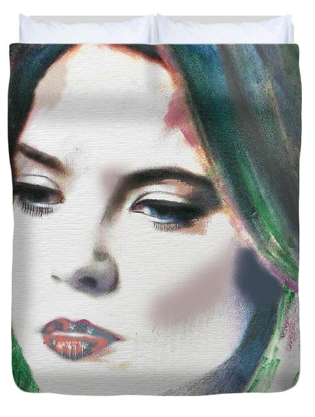 Duvet Cover featuring the digital art Carrie  by Kim Prowse