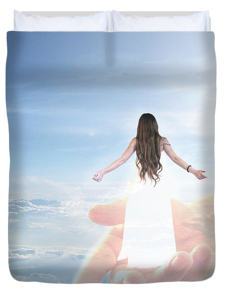 Carried By God's Hand Duvet Cover