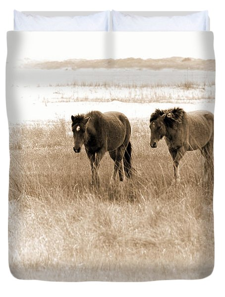 Carrot Island Ponies Duvet Cover