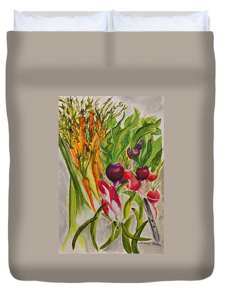Carrots And Radishes Duvet Cover by Jamie Frier