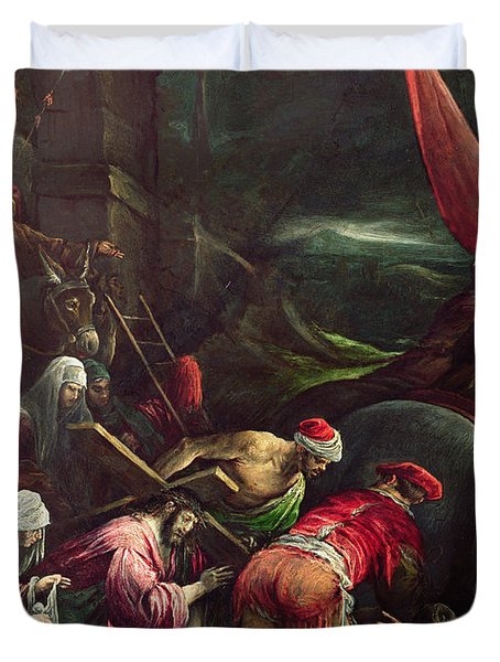 Carrying The Cross, 1592 Duvet Cover