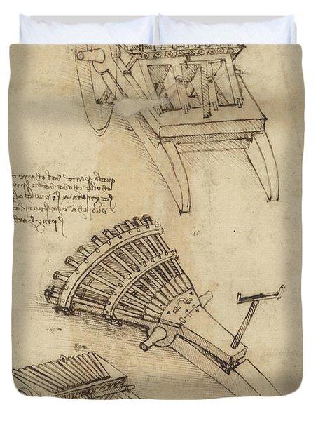 Cart And Weapons From Atlantic Codex Duvet Cover by Leonardo Da Vinci
