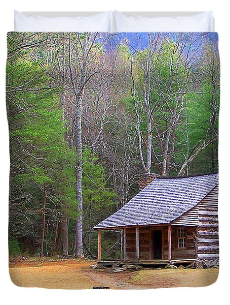 Carter Shield's Cabin II Duvet Cover by Jim Finch