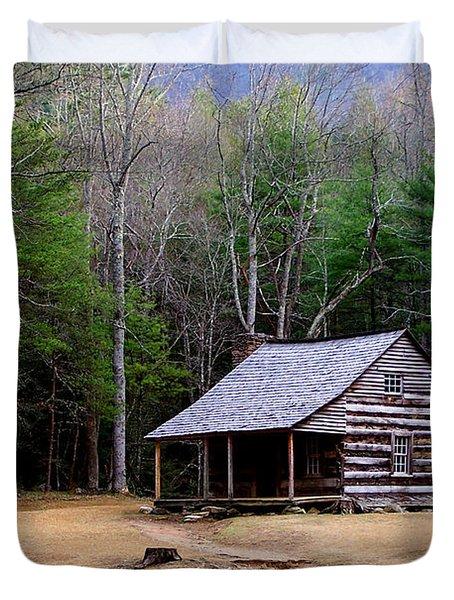 Carter Shields' Cabin Duvet Cover by Jim Finch