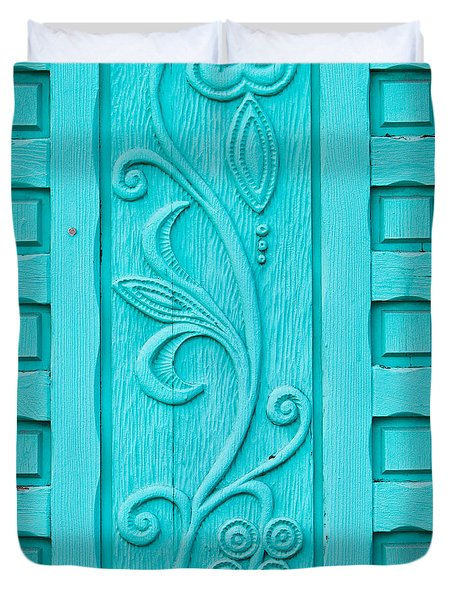 Carved Turquoise Door Duvet Cover