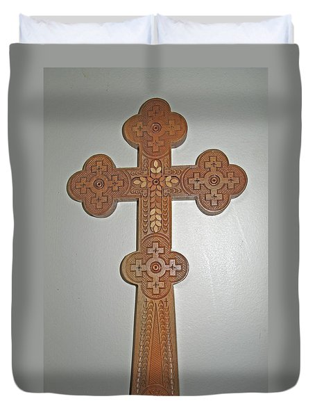 Carved Ukrainian Wooden Cross Duvet Cover by Barbara McDevitt