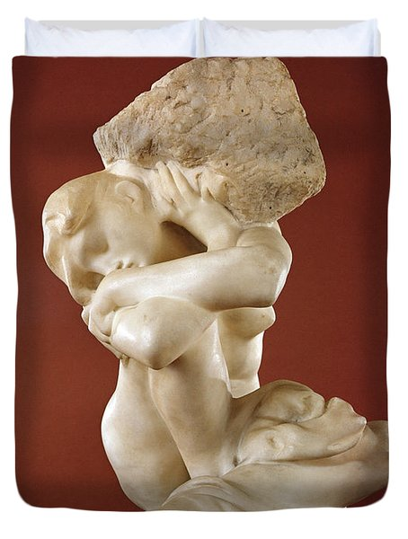 Caryatid With A Stone, 1881-82 Marble Duvet Cover
