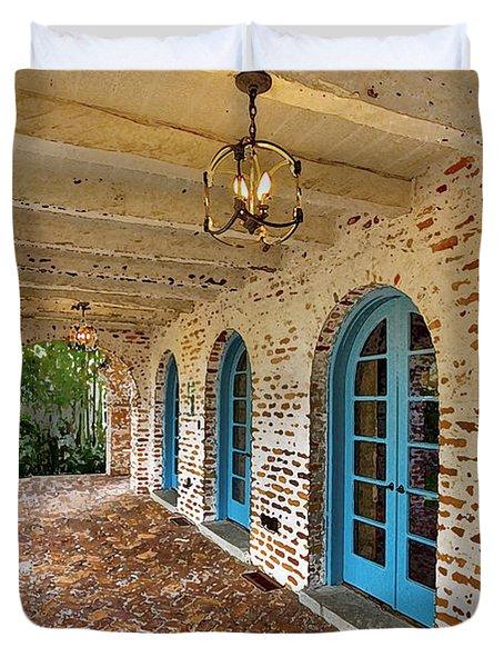 Casa De Feliz Portico Db Duvet Cover by Rich Franco